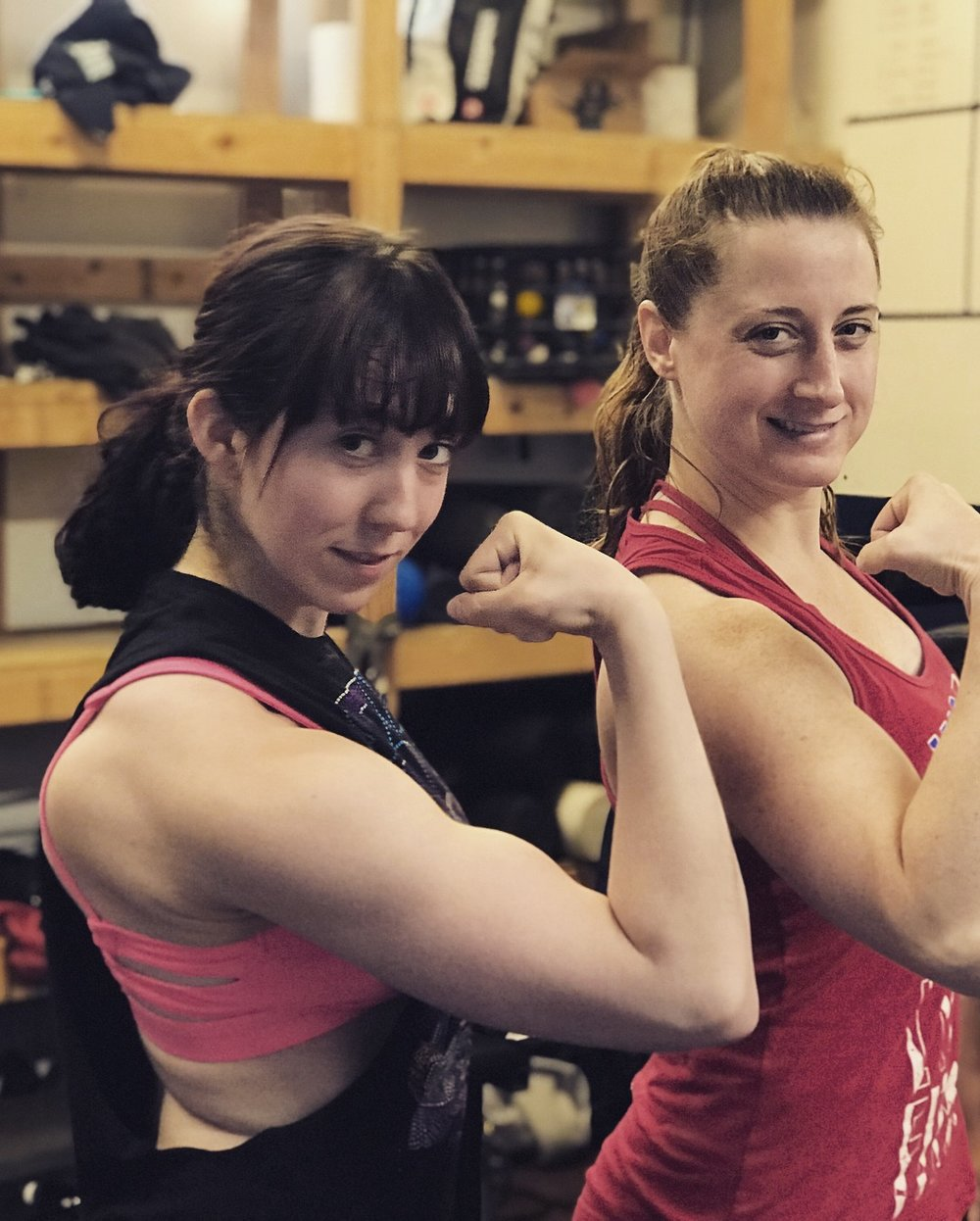 Megan B. and Merrilee with the gun show