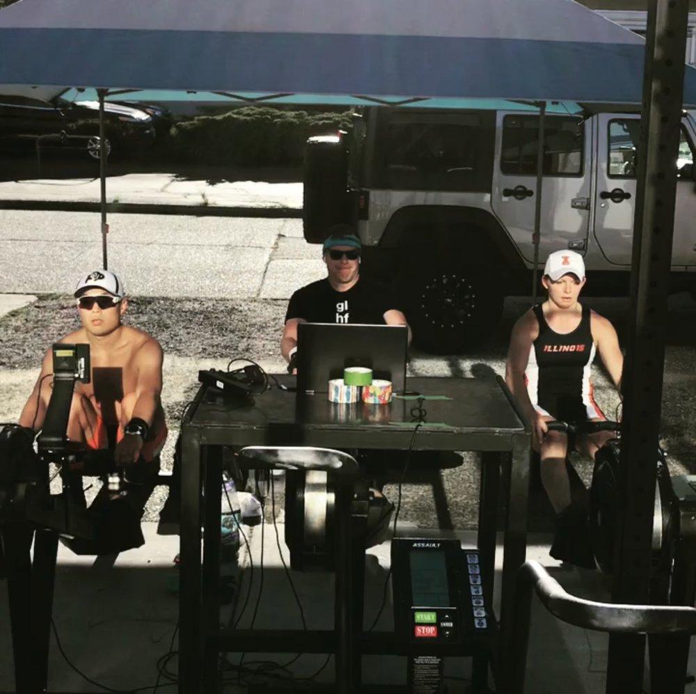 Joe L., Robert B., and Mel S. during their marathon row! Great work guys!