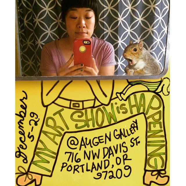 Just one last gentle reminder that my artistic exhibit of bathroom selfie squirrel photobombs is opening tomorrow @augengallery !  Hope to see y'all there🖼🦷🤜🏿🤛 #augengallery #artyhappenings #portlandoregon