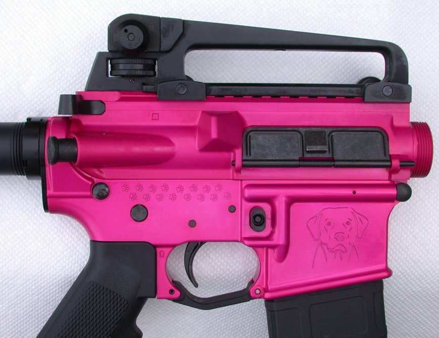My wife loves her dogs (we have five) so we built a pink AR and put all her dogs (past and present) names on it.