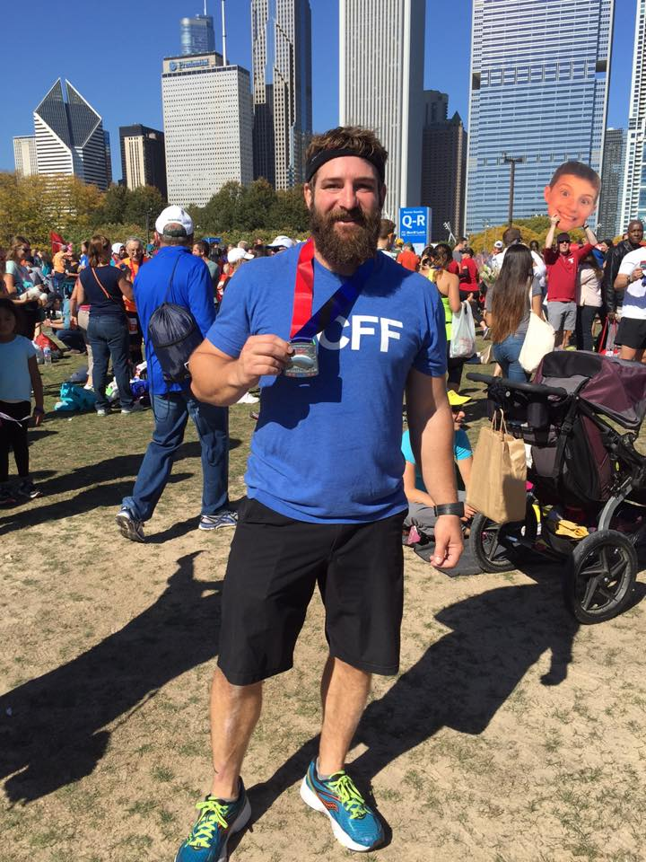 Scott after finishing the Chicago Marathon in 2015