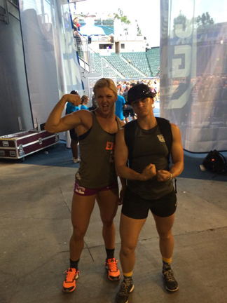 Alison hanging with Brooke Ence at the 2015 CrossFit Games