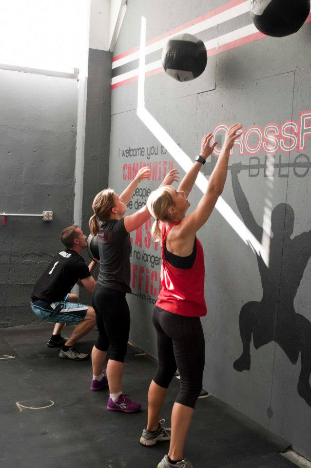 "First Crossfit workout ""Fight Gone Bad"" at the 2012 CFB Grand Opening at the Iron Works location."