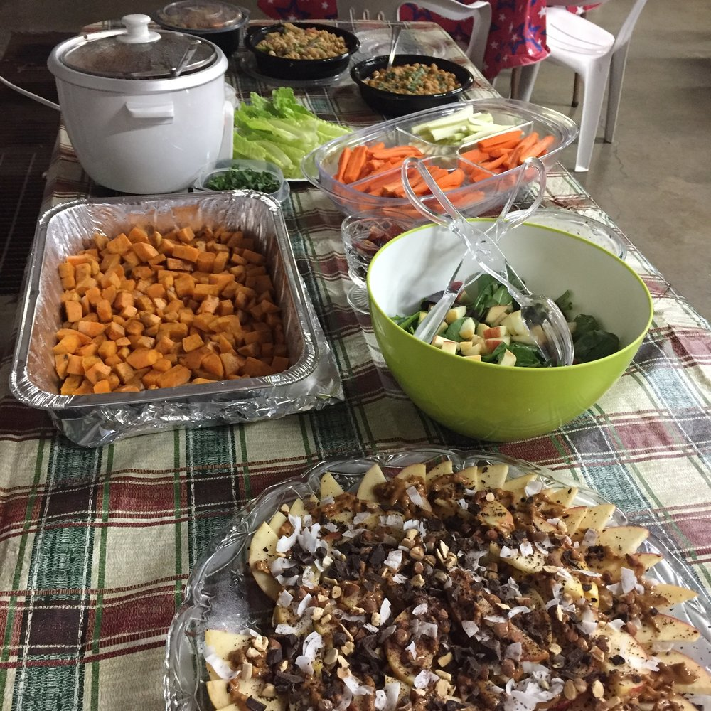 Delicious spread of food at the potluck!