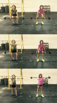 Tia and Divya doing some hang cleans