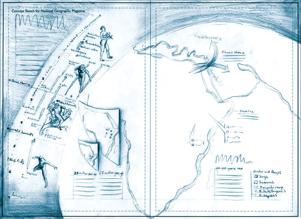 Concept sketch for Early Hominids article for National Geographic Magazine