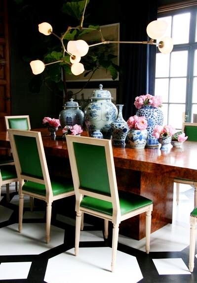 Dining Room. Green Leather French Dining Chairs, Veneered Dining Table and Blue China
