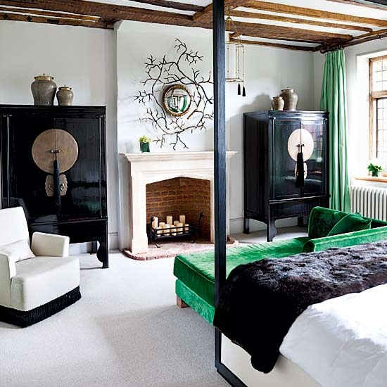 Green Sofa and Green Curtains