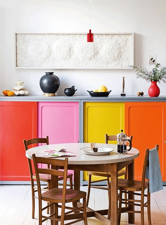Colour Block kitchen cabinets - yellow, orange, red, pink