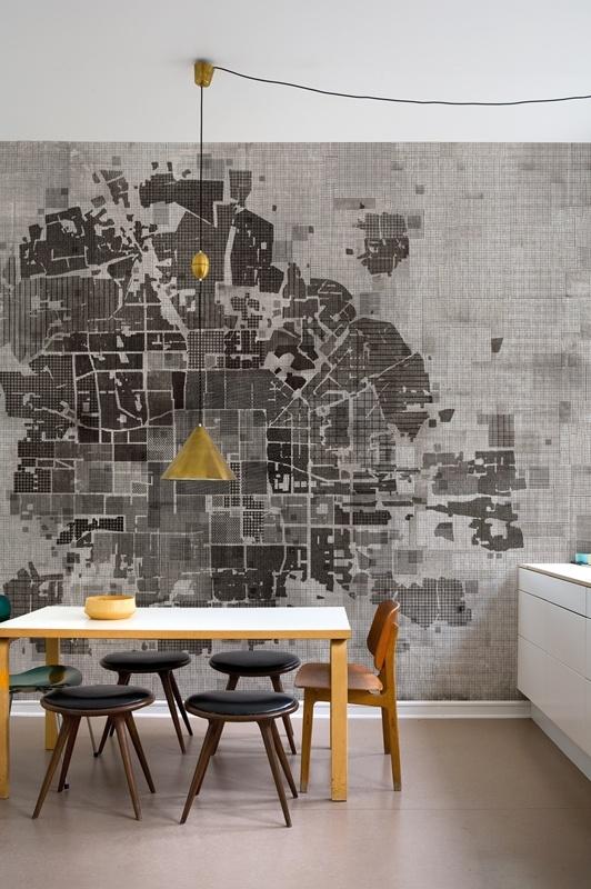 Grey Map Wallpaper Dining Room