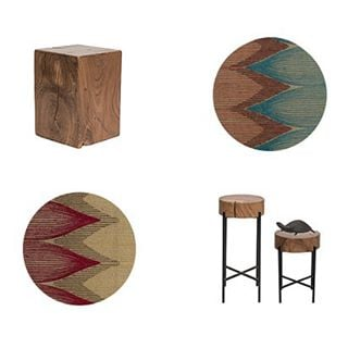 Mimosa + Scala combo. Style your home fabulous with Iqrup + Ritz. #handembroidered #rustic #stool #table #accent #sidetables #woodfurniture #acacia #cushions #homefurnishings #wood #handmade