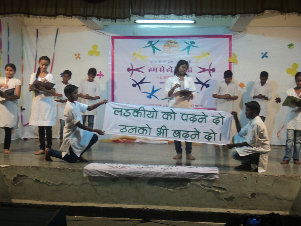 Children performing a skit on education for girls at the event, Humse Ho Duniya