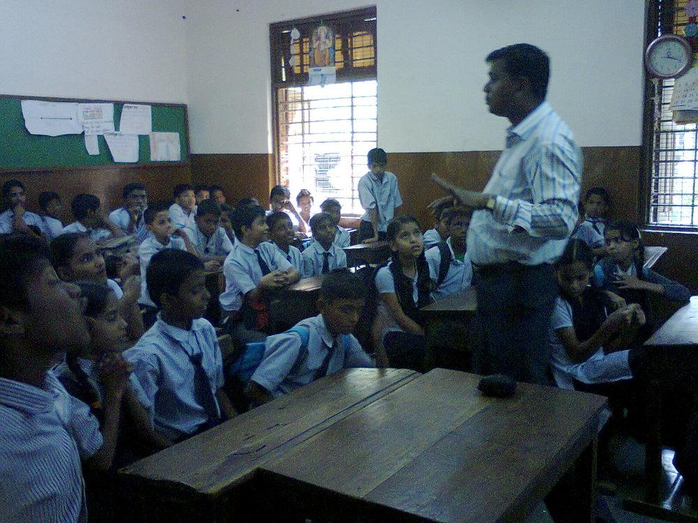 Interaction with children in a BMC school by Childline team