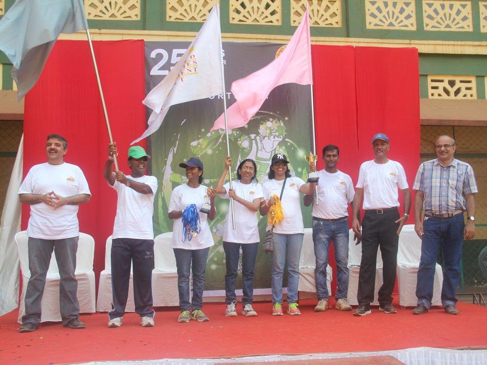 Winning team on the stage