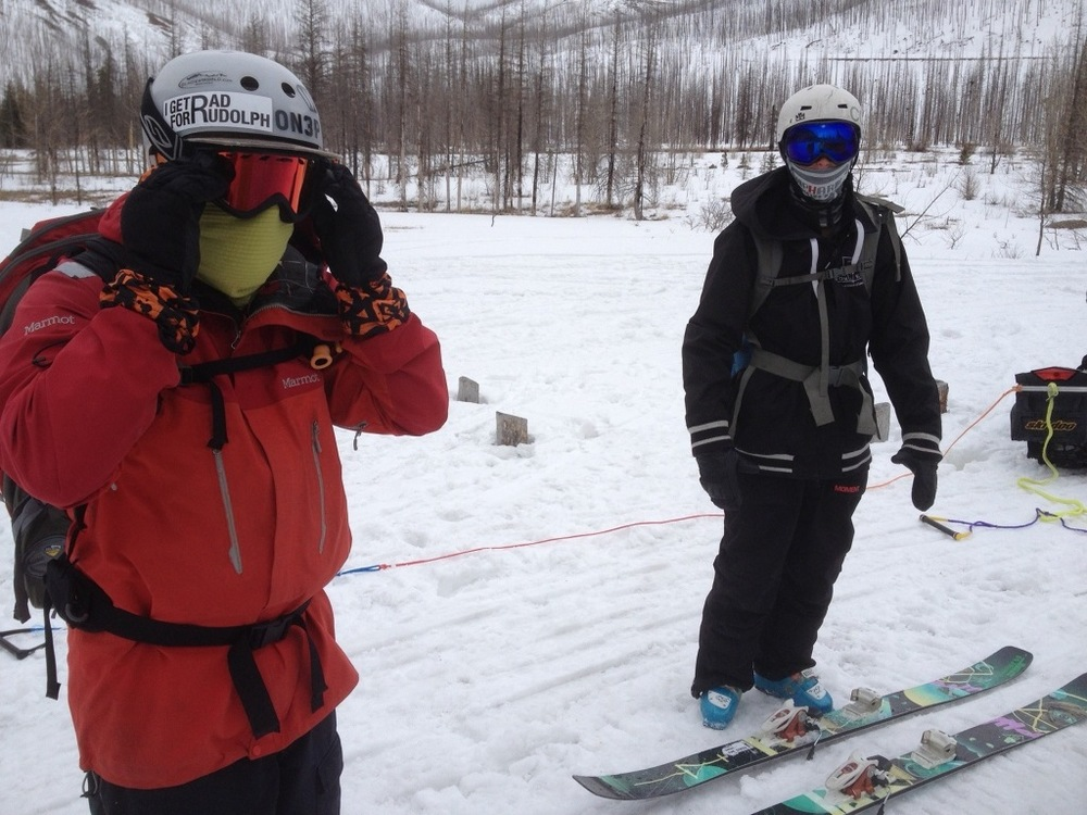 David and Shay getting ready to sled out