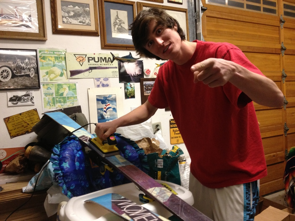 Robby waxing his skis the night before our competition
