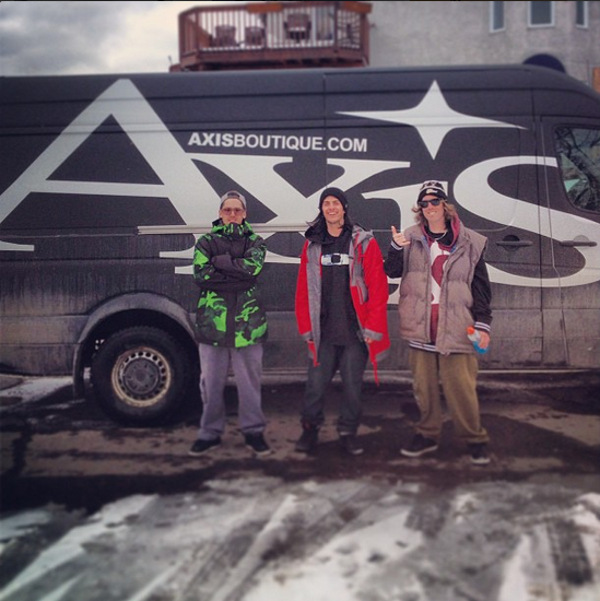 Laurent-Olivier Martin, Dom Laporte, and Hugo Pelletier with the Axis van. Photo by: Brotherhood Films