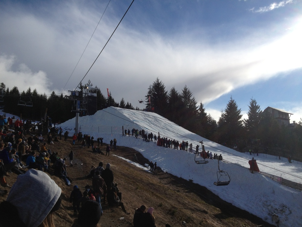 Watching the Big Air qualifier from the hill