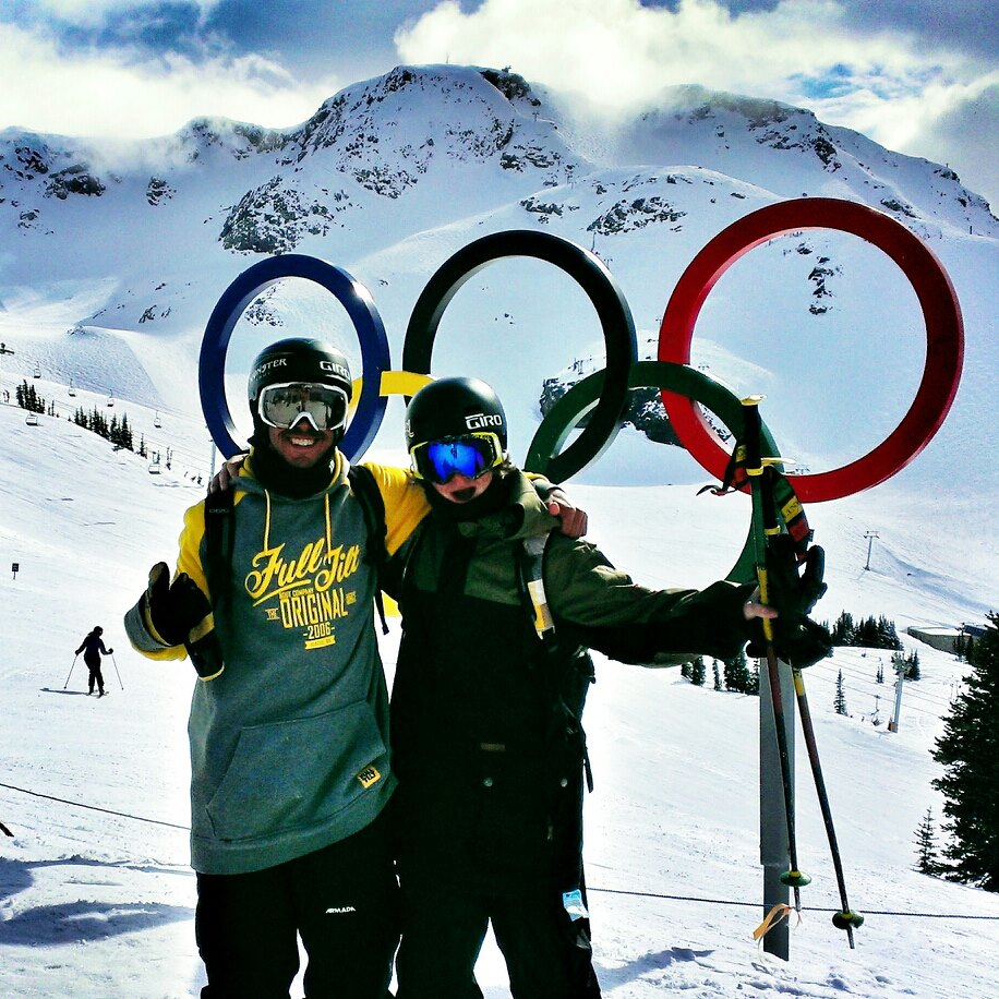 Olympic rings right by the Whistler lodge with good friend Kyle Delong