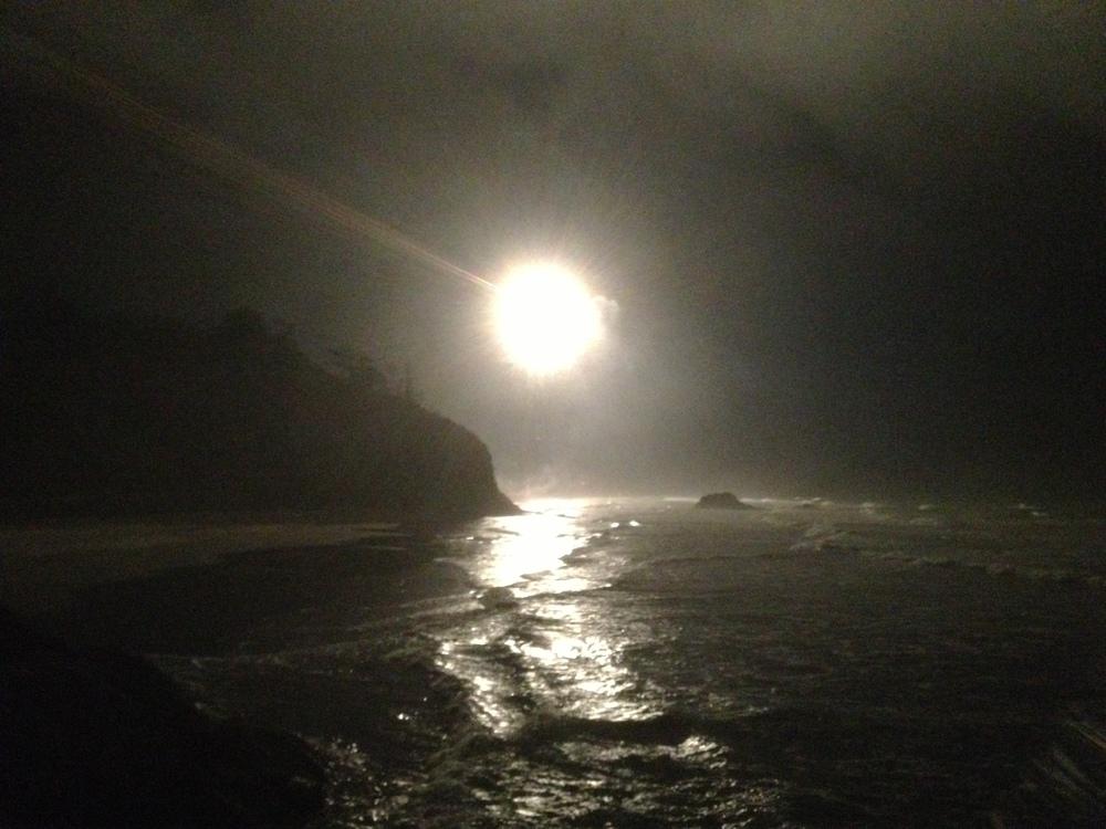 Fireworks lighting up the ocean