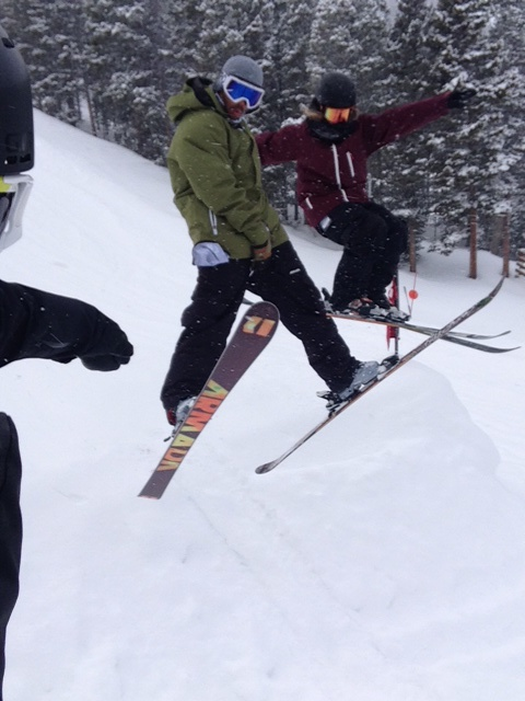 Fun time shredding in Breck with friends after the contest!