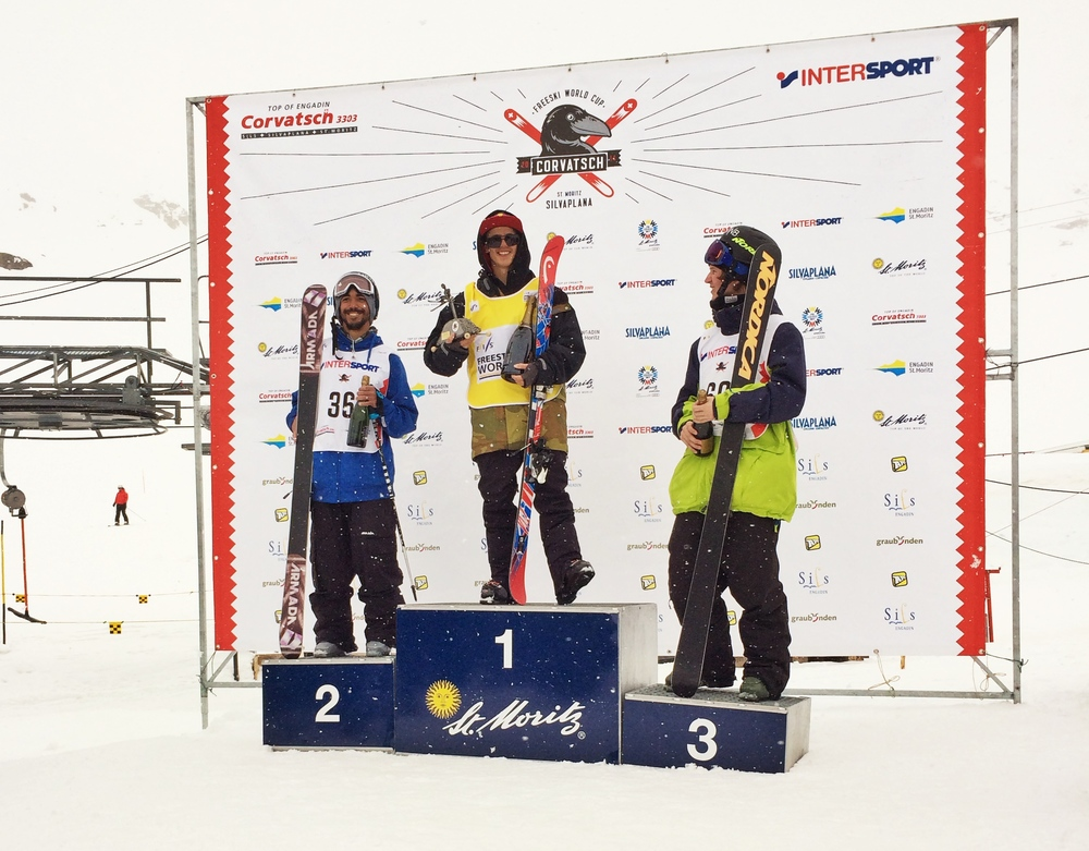 The Podium at Silvaplana with Jesper Tjader grabbing 1st and Christian Nummeldal placing 3rd