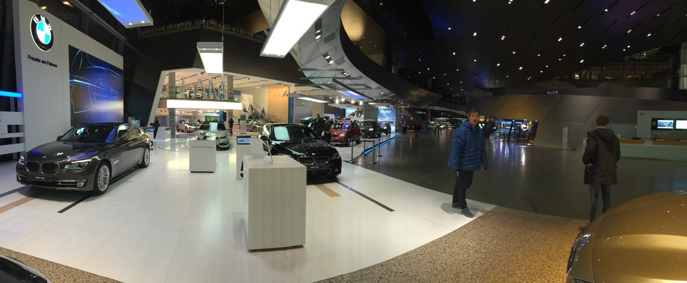 Walking around the BMW headquarters showroom