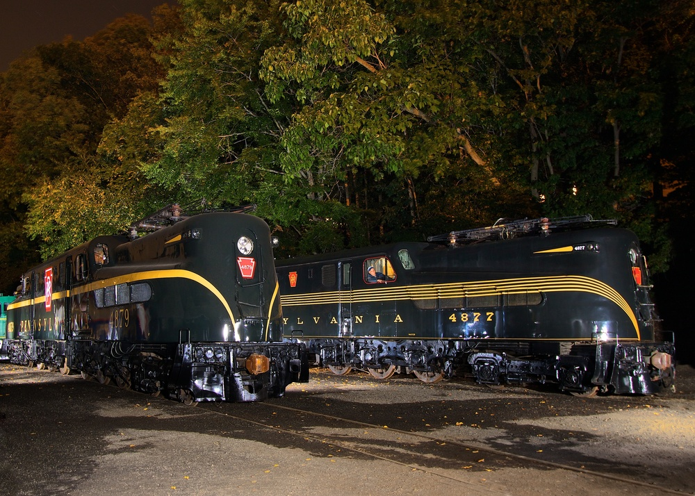 Pennsylvania Railroad GG1s in the Boonton Restoration Yard of URHS on September 20, 2014. Photo credit: Dennis A Livesey
