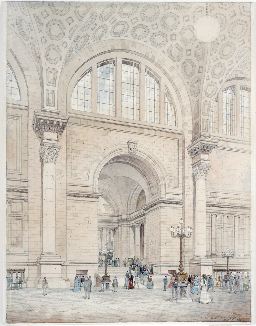 Jules Crow, Pennsylvania Station Interior, 1906. Watercolor, Ink and Graphite on Paper. New-York Historical Society, PR042, Mckim, Mead & White Collection