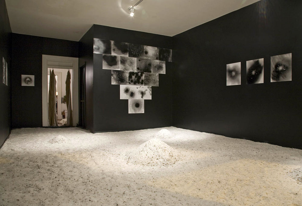 Salt Room (winter on the moon) / Studio 1020 / rock salt, B&W photograms, black paint / Chicago