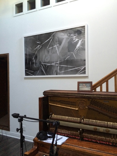Just installed this photogram at Shirk Studios. It is made from half inch and two inch audio recording tape on black and white photo paper.  Check out his studio here: http://shirkmusic.com/Main.html