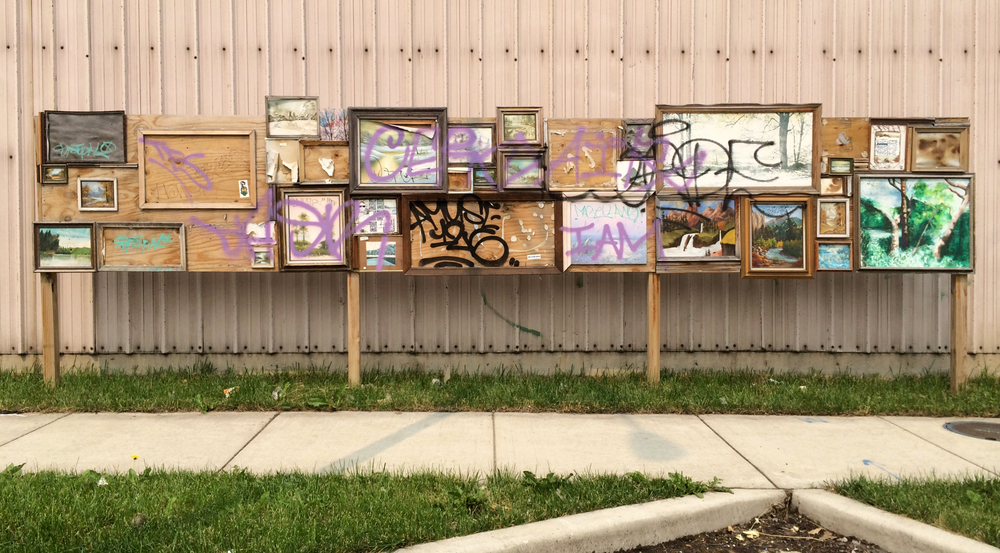Thriftscpe / 24' ft x 4' ft / thriftstore paintings / Chicago / 20 months after install (Sept. '13 - June '15)