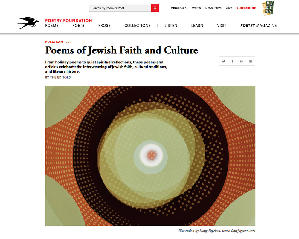 "Commission: Poems of Jewish Faith and Culture   The Poetry Foundation commissioned a frontispiece for their Poems of Jewish Faith and Culture section. I used the circle as a motif and made this multiple exposure color photogram one day close to the time of the solar eclipse. The piece is titled for the Torah portion from that week which is ""Re' eh"", which means ""to see""- another of the chance based elements at work in this process.     https://www.poetryfoundation.org/articles/69840/poems-of-jewish-faith-and-culture"