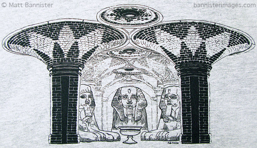 'Subway Sphinxes' adapted for use as a t-shirt design. [detail]