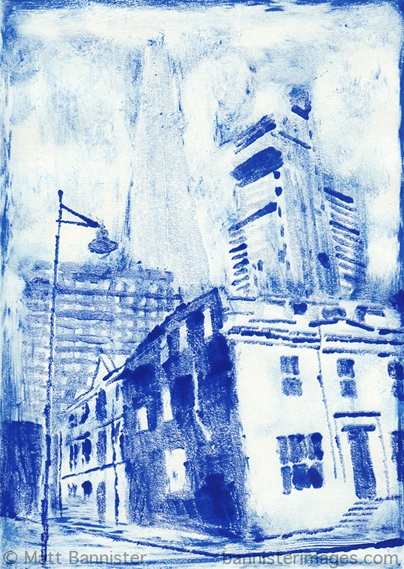 Monoprint. Blue printing ink (diluted, neat and wiped). Printed on damp 220 gsm paper.