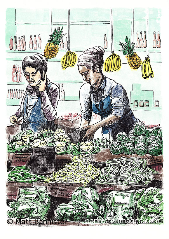 'Borough Veg 2' 2013. Mono print, ink.