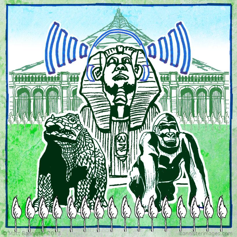 Dinosaur, sphinx and gorilla statues