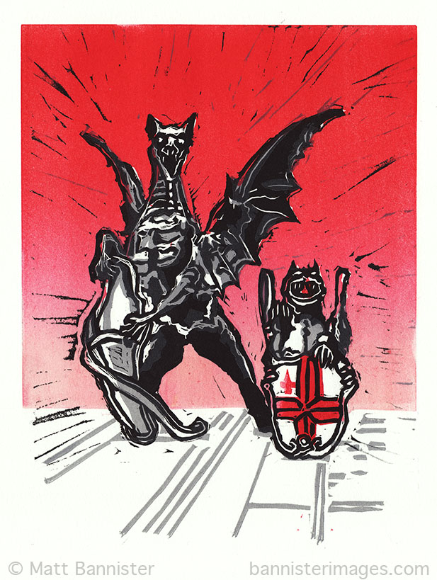 The Search for the Missing Dragon (linocut)