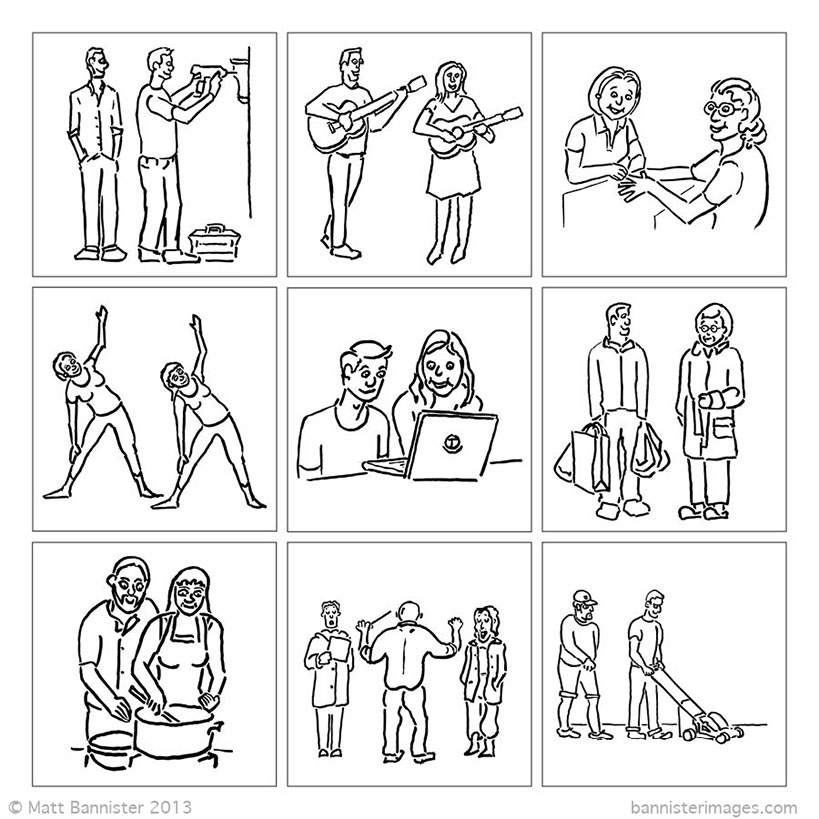 illustrations of people helping each other