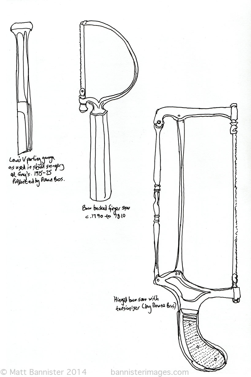 Drawing of old medical instruments