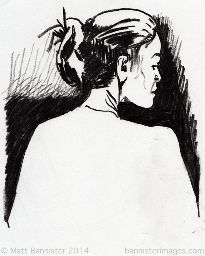 drawing of a woman's head in profile