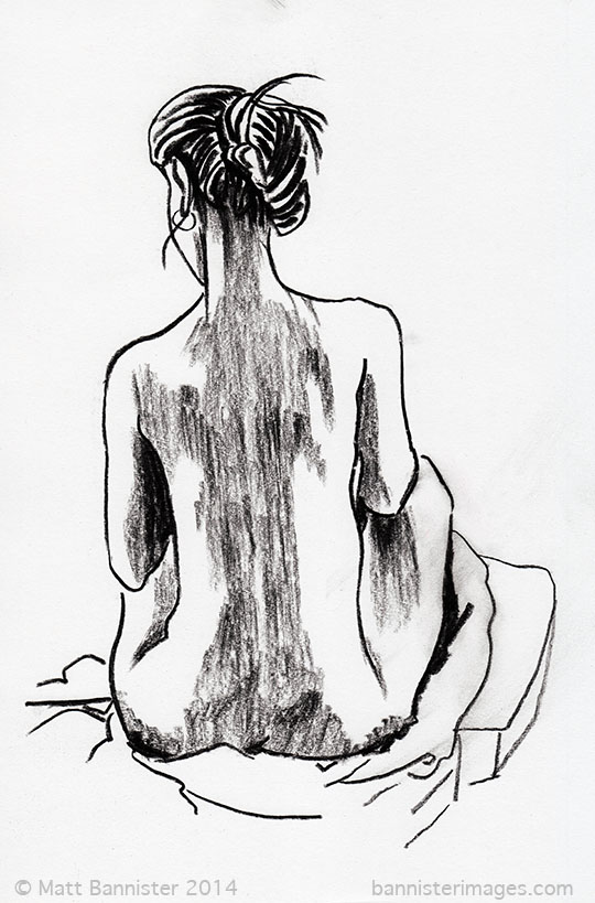 drawing of a woman's back
