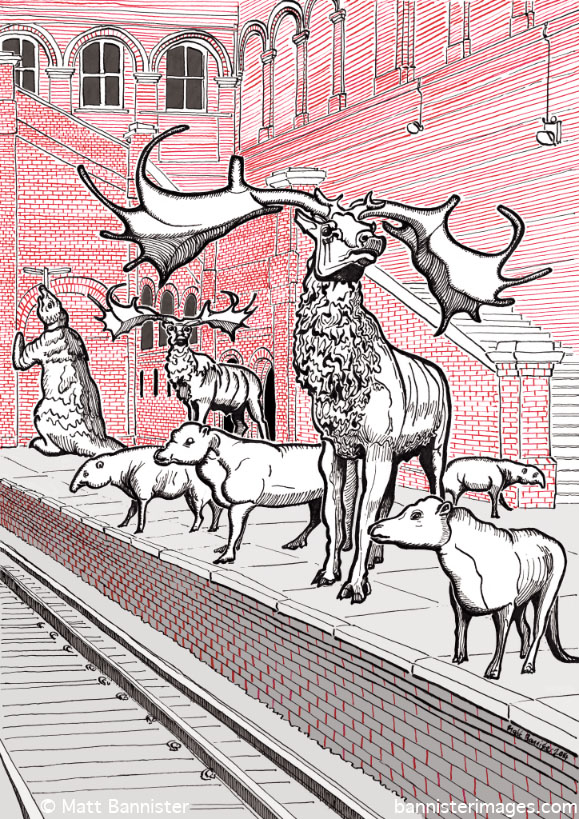 illustration of extinct mammals on a railway platform
