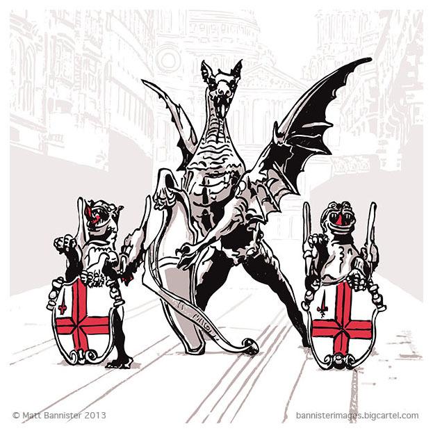 illustration of three dragons