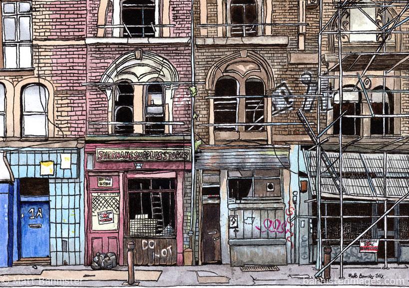 Illustration of empty buildings