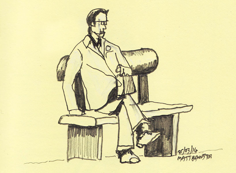 drawing of a man on a bench
