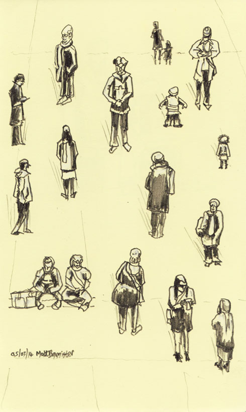 drawing of people seen from above