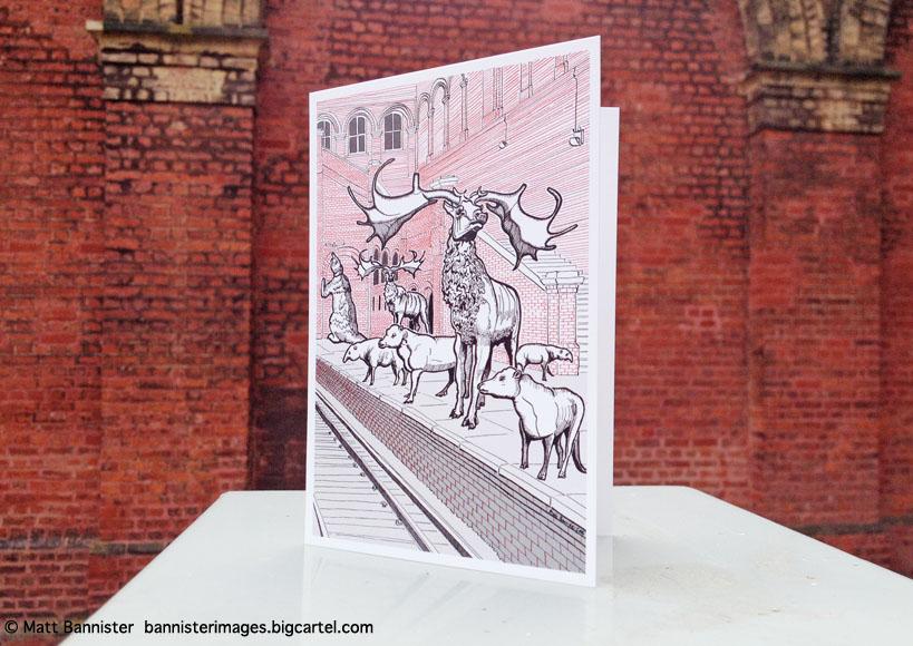 greeting card on a plinth