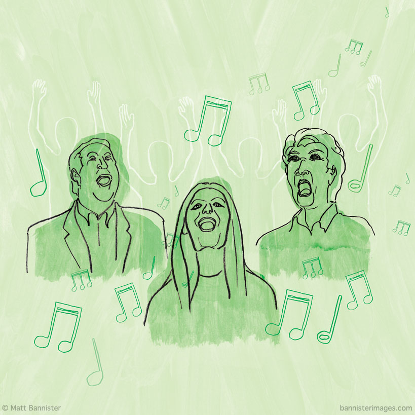 illustration of people singing