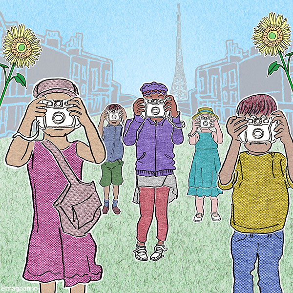 illustration of children with cameras